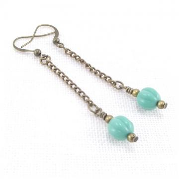 Aqua Bead Dangle Earrings