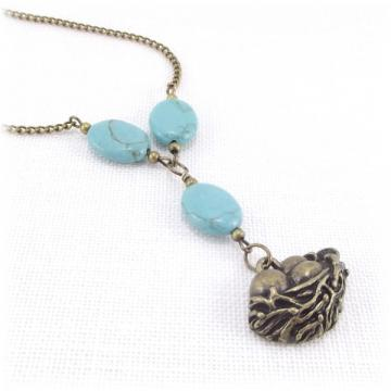 Turquoise Stone and Bird Nest Pendant Necklace
