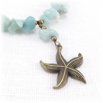 Antique Gold Starfish Pendant Necklace