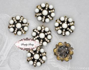 RD75B PEARL & RHINESTONE Embellishment Buttons - Add to flowers, invitations, frames, accessories ~ WHERE EVER!