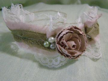 Vintage Inspired Antique Pink Newborn Tie On Headband Photography Prop