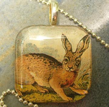 Glass Tile Pendant Rabbit