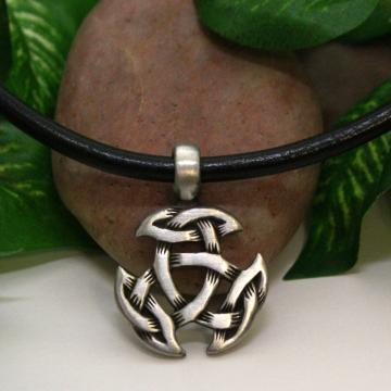 Leather Necklace with Pewter Celtic Crescent Pendant