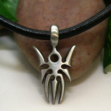 Leather Necklace with Pewter Spider  Pendant