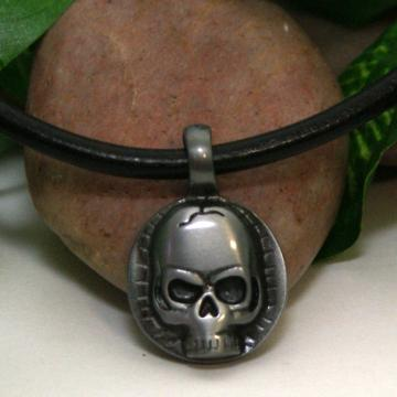 Leather Necklace with Pewter Skull Pendant
