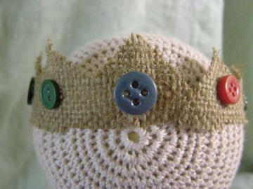 Newborn Baby Boy Prince of Buttons Burlap and Vintage Buttons Crown