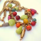 Tooty Fruity Vintage Glass Bead Boho Necklace Lime Yellow Orange Colorful Rainbow