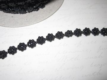 1yd - Mini Black  Daisy Pearl Trim