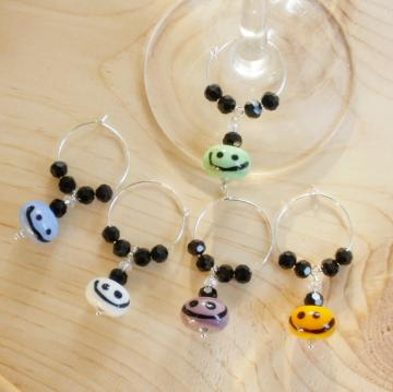 5 Happy Wino Lampwork Glass Wine or Mug Charms