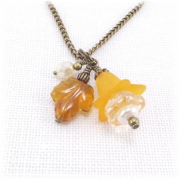 Autumn Orange Flower Charm