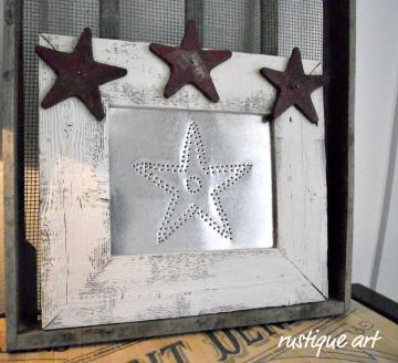 Rustic Frame Punched Tin Wall Art