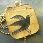 Glass Pendant Crow