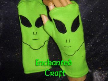 Fleece ALIEN Fingerless Gloves