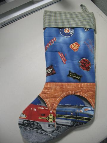 LIONEL TRAIN Christmas stocking