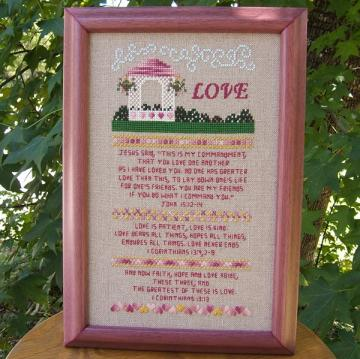 Love Sampler Cross Stitch Pattern