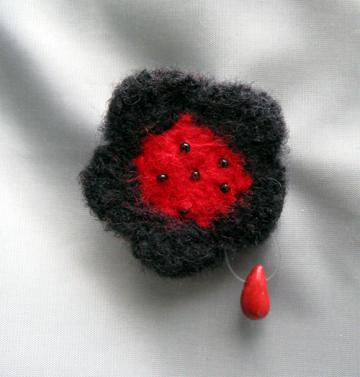 Vampire Love Felted Flower Brooch