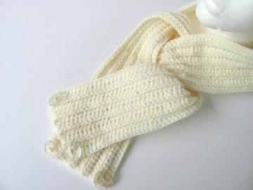 Winter White Thick & Thin  Crochet Scarf