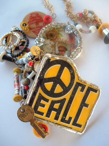 Presto Peace OOAK Statement Necklace Zibbet Trash To Treasure Challenge
