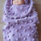 Hand Knitted Baby Papoose And Hat Set
