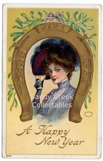 Digital Scan Antique Postcard Happy New Year Good Luck Lady