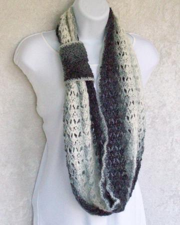 *Reserved* Infinity Scarf, crocheted in Misty Grey brushed acrylic yarn