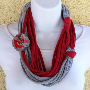 Infinity Scarf, multi-stranded in red and grey jersey knit, with matching pin