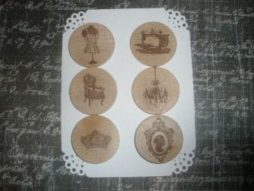 Vintage Themed Wood Embellishments-Brown