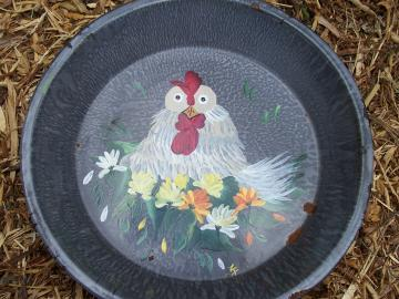 Rooster in a Vintage Pan