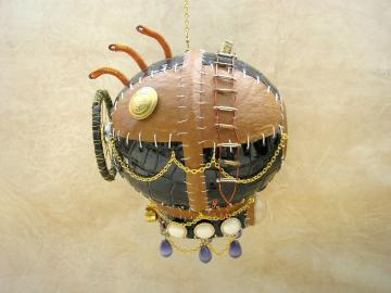 """Handmade unique leather steampunk style airship mobile """"Heavenly way"""""""