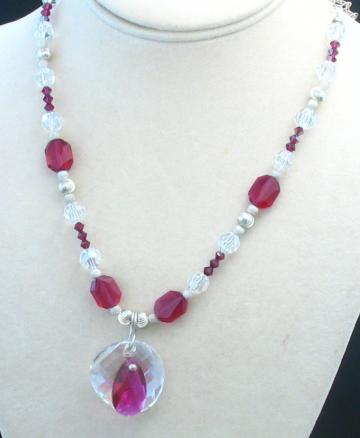 Hot Fuchsia Pink Crystal Handcrafted Necklace