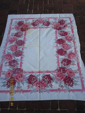 Vintage 1960s Floral Spring Tablecloth 48 x 60 flowers Pink Dahlias roses