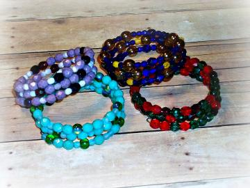 RESERVED - Outer Senshi - Set of 4 Coil Bracelets - OOAK