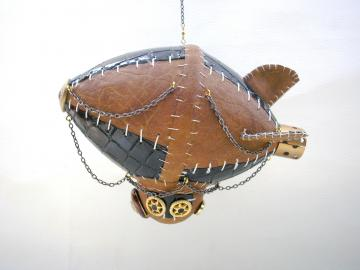 Handmade unique leather steampunk style airship mobile