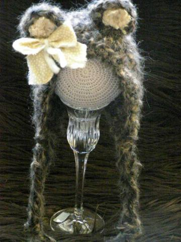 Crochet Newborn Baby Mohair Bear Bonnet Photo Prop