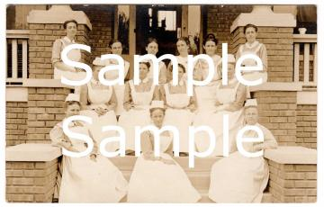 Digital Scan Antique Real Photo Postcard Nurses Caps Class