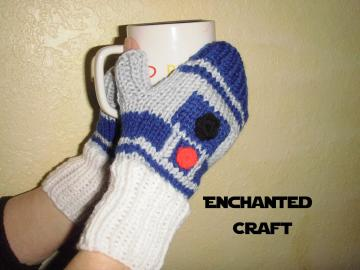Hand Knitted R2-D2 Fingerless gloves for the fan of Star Wars