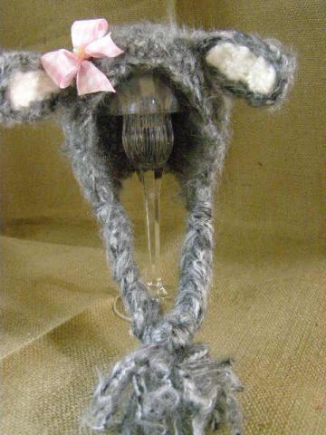 Crochet Newborn Baby Mohair Grey Lamb Bonnet Photo Prop