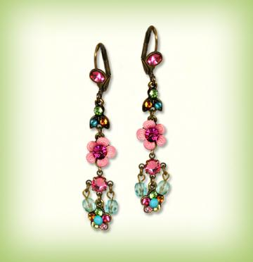 Orly Zeelon Long and Shiny Earrings With Pave Set Flower