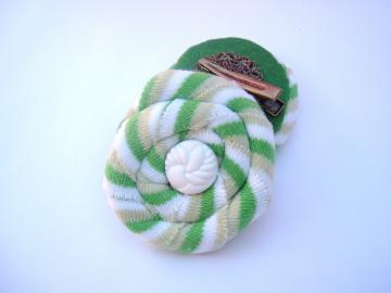 Green Stripes hair clips vintage buttons recycled tee fabric