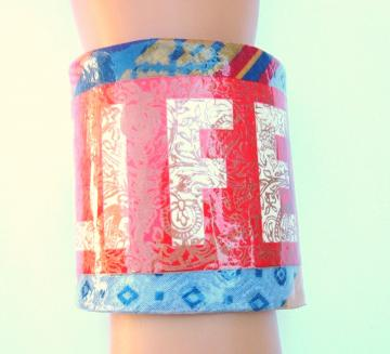 A Life Decoupage Cuff Bracelet Recycled Vintage Tie