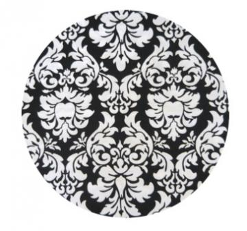 Damask Print {Black &amp; White} Edible Image Cupcake Toppers