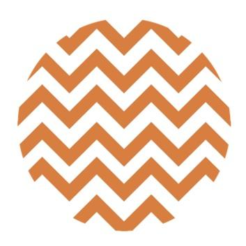 Chevron Print {Orange & White} Edible Image Cupcake Toppers
