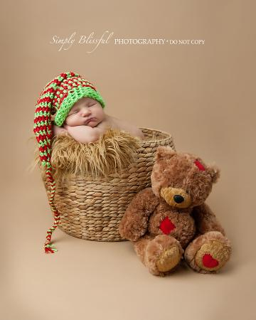 Crochet Newborn Baby Photography Prop Striped Elf Hat Photo Prop