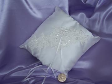 Hand Crafted Ivory Satin Square Ring Pillow