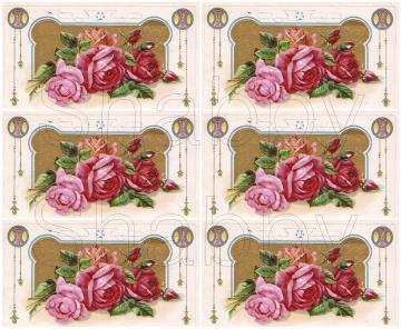 Shabby Vintage chic Pink roses  digital collage sheets for scrapbook and cards  DC153