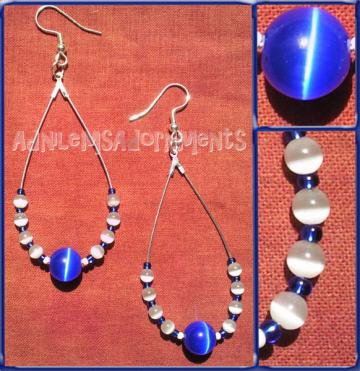 Cobalt Blue Cats Eye Teardrop Earrings
