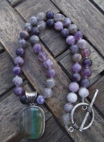 RESERVED Summer Time, Chunky Sterling Fluorite Necklace