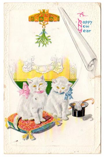 Antique Postcard 1920s New Year Greeting Kittens Top Hat Gloves