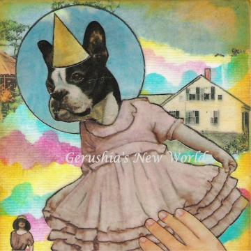 Dancing Fiona ~ Anthropomorphic Watercolor/Collage Print