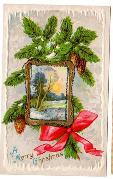 Antique Christmas Postcard Embossed 1910s Greeting Gold Picture Frame Red Ribbon